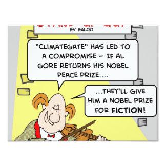 "al gore climategate nobel prize fiction peace 4.25"" x 5.5"" invitation card"