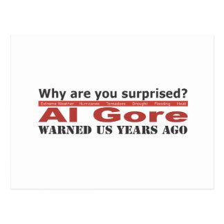 Al Gore Warned Us Postcard
