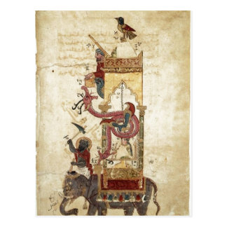 Al-Jazari: El reloj del elefante (reloj mecánico,  Tarjeta Postal