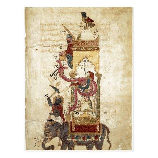 Al-Jazari: The Elephant Clock (mechanical clock, w Postcard