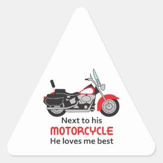 AL LADO DE SU MOTORDYCLE PEGATINA TRIANGULAR