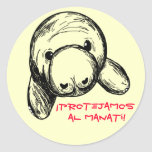¡Al Manatí de Protejamos del ¡! Etiquetas Redondas