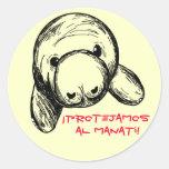 ¡Al Manatí de Protejamos del ¡! Pegatina Redonda