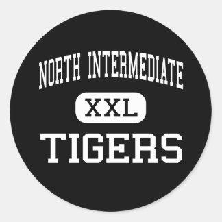 Al norte intermedio - tigres - alto - flecha rota pegatina redonda