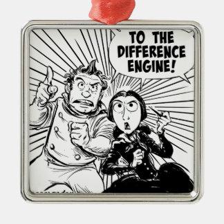 Al panel del motor de diferencia adorno navideño cuadrado de metal