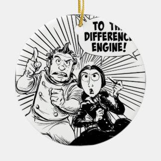 Al panel del motor de diferencia adorno navideño redondo de cerámica