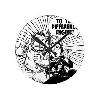 Al panel del motor de diferencia reloj redondo mediano