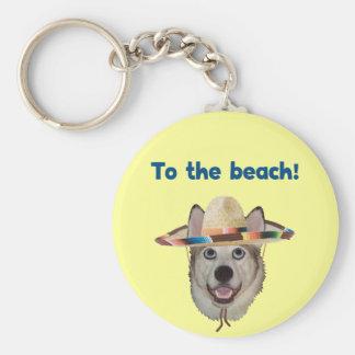 Al perro de la playa llavero redondo tipo pin