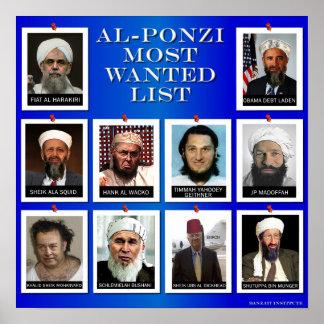 "AL-PONZI MOST WANTED LIST ""BLUE"" POSTER"