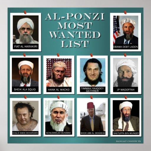 AL-PONZI MOST WANTED LIST POSTER