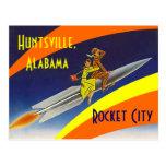 AL retro de la ciudad de Huntsville Alabama Rocket Postales