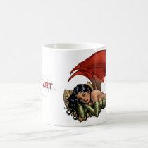 devil, girl, woman, rio, pillows, red, green, heels, brunette, pop art, Mug with custom graphic design