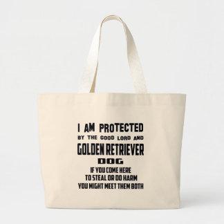 Al señor el bueno me protejo y el golden retriever bolsa tela grande