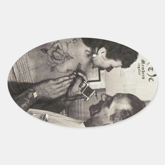 Al Shieferly tattoos Rose Oval Sticker