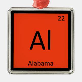 Al - símbolo de la tabla periódica de la química adorno navideño cuadrado de metal