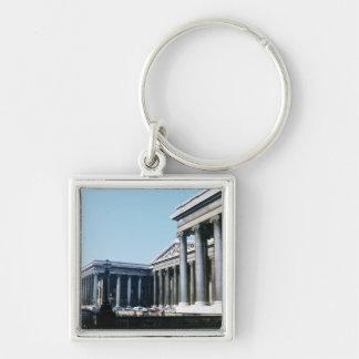 Al sur frente de British Museum Llavero Cuadrado Plateado
