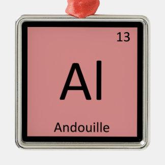 Al - tabla periódica de la química de la salchicha adorno navideño cuadrado de metal