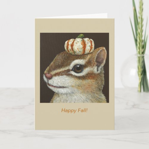 Al the chipmunk and pumpkin fall card