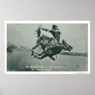 Al Wilkenson riding Torpedo. Print