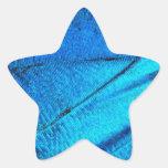 Ala azul iridiscente de la mariposa calcomanía cuadrada personalizada