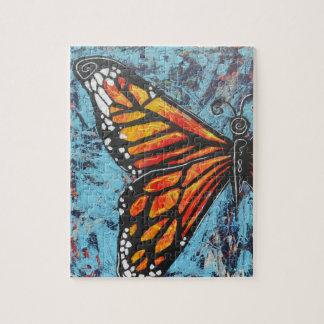 Ala de la mariposa de monarca de las creaciones de rompecabezas con fotos