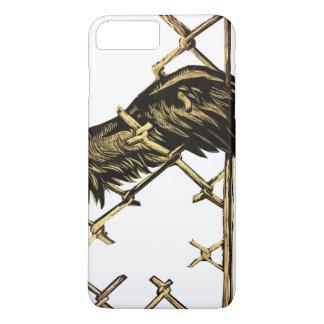 Ala de un pájaro atrapado en una cerca funda iPhone 7 plus