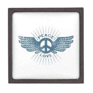 Ala del amor de la paz caja de joyas de calidad