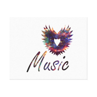 Ala del corazón de la música debajo de la nebulosa impresion en lona
