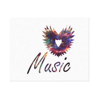 Ala del corazón de la música debajo de la nebulosa impresion de lienzo