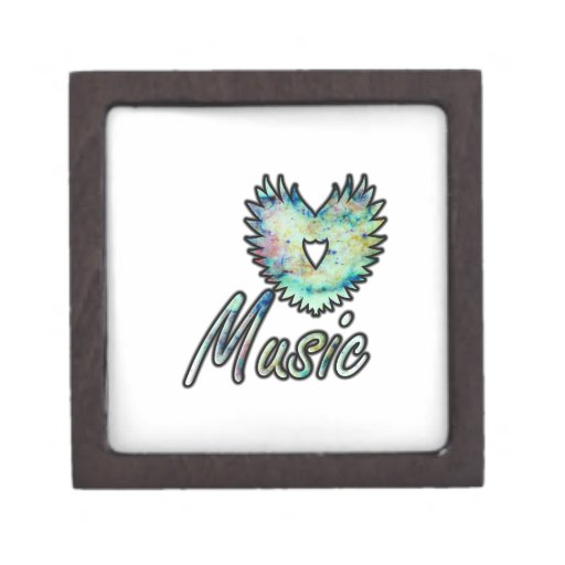 Ala invertida del corazón de la música debajo de l caja de recuerdo de calidad