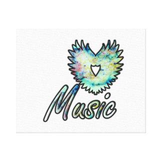 Ala invertida del corazón de la música debajo de l impresion en lona