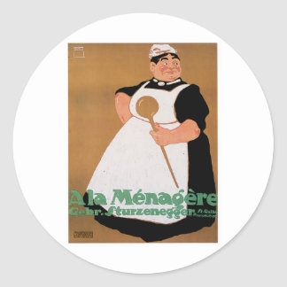 Ala Menagere Vintage Food Ad Art Classic Round Sticker