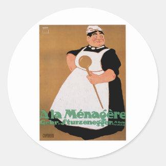 Ala Menagere Vintage Food Ad Art Round Sticker