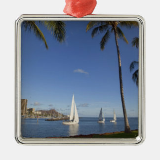 Ala Moana Beach Park, Waikiki, Honolulu 2 Metal Ornament