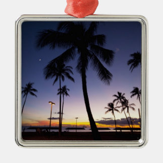 Ala Moana Beach Park, Waikiki, Honolulu 4 Metal Ornament