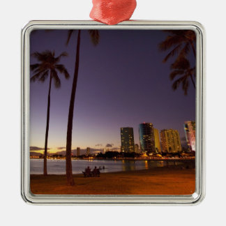 Ala Moana Beach Park, Waikiki, Honolulu 5 Metal Ornament
