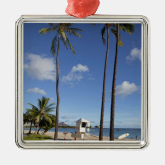 Ala Moana Beach Park, Waikiki, Honolulu 8 Metal Ornament