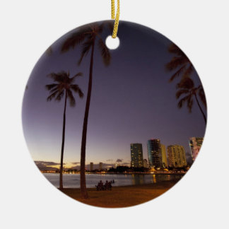 Ala Moana Beach Park, Waikiki, Honolulu Ceramic Ornament