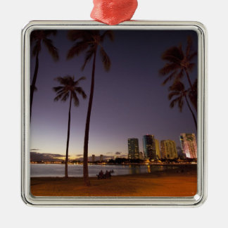 Ala Moana Beach Park, Waikiki, Honolulu Metal Ornament