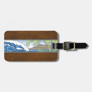 Ala Moana Diamond Head Hawaiian Surf Sign Luggage Tag