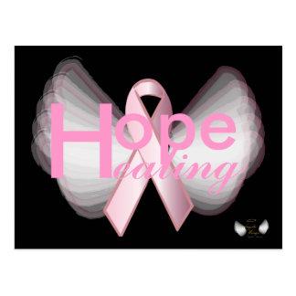 Ala-Personalizar angelical de la cinta rosada cura Tarjetas Postales