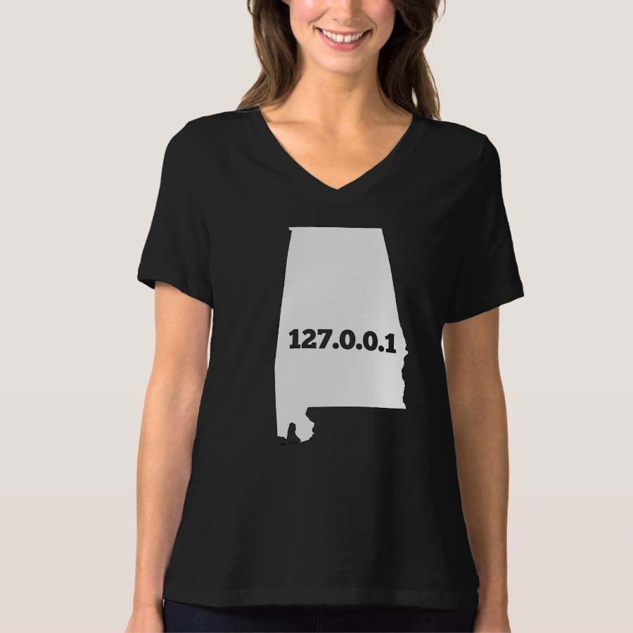 Alabama 127.0.0.1 Home Computer Nerd IP Address T-Shirt - Best Selling Long-Sleeve Street Fashion Shirt Designs