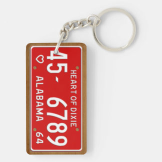 Alabama 1964 Heart of Dixie License Plate Keychain
