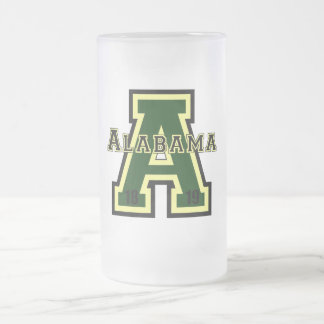 Alabama 'A' Green Frosted Glass Beer Mug