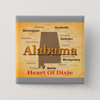 Alabama Aged Map Silhouette Button