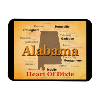 Alabama Aged Map Silhouette Magnet