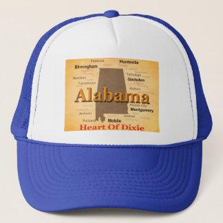 Alabama Aged Map Silhouette Trucker Hat