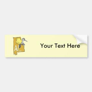 Alabama AL Map & Yellowhammer Woodpecker Cartoon Car Bumper Sticker
