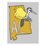 Alabama AL Map & Yellowhammer Woodpecker Cartoon Postcard