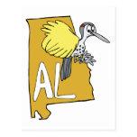 Alabama AL Map & Yellowhammer Woodpecker Cartoon Post Card